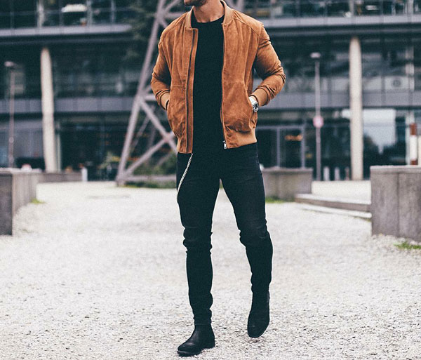suede bomber jackets outfit