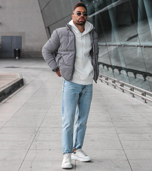 Light Blue Jeans with Grey Coat and Hoodie