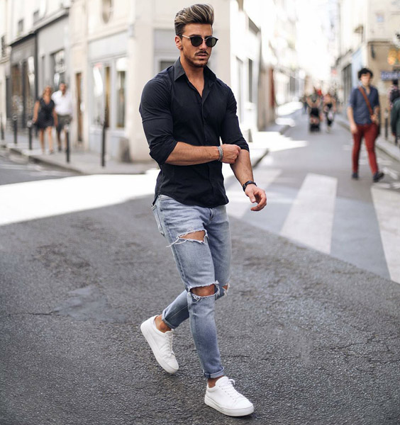 black shirt with light blue jeans